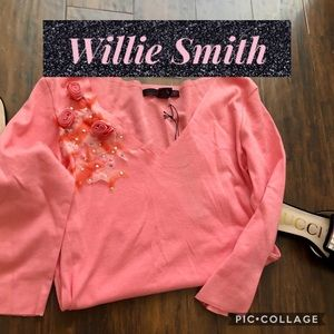 Willie Smith Rose Pink Top w/Flowers